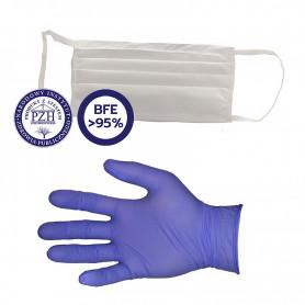 Zestaw ochronny - maska  na twarz +  para rękawic ochronnych